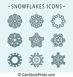 Set snowflakes icons