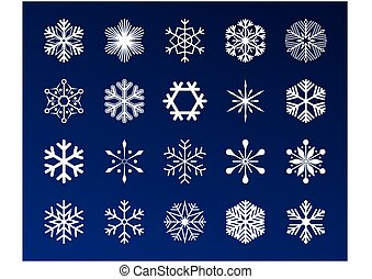 Set snowflakes icons vector illustration on blue background.