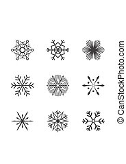 Set snowflakes icons vector illustration on white background.