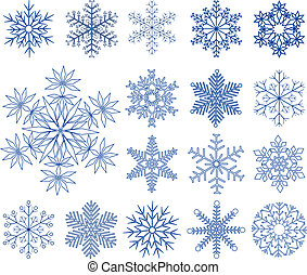 set, snowflakes, vector