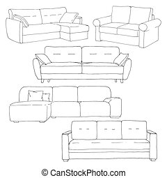Set sofas isolated on white background.Vector illustration in a sketch style.