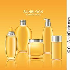 set, sole, sunscreen, cosmetics., protezione, contenitori, cura