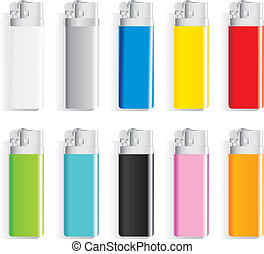 set souvenir color lighters with a place for drawing of the text or a firm logo