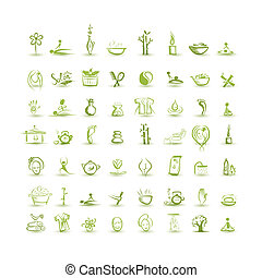 set, spa, iconen, ontwerp, jouw, masseren