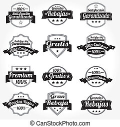 set, spaanse , vector, etiketten, retro