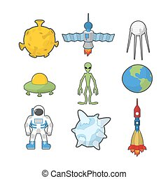 Set Space icons. Spacecraft and rocket UFO. Satellite and Earth, astronaut and alien. Vector illustration