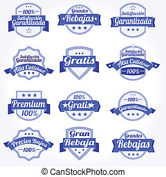 Set spanish vector Labels retro