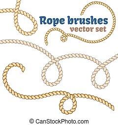 set., spazzole, corda, realistico, vettore, design.