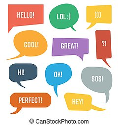 Set Speech Bubble. Colorful Texting Vector Shapes. Talk Icons Isolated On White Background. Abstract Cartoon Dialog Design.