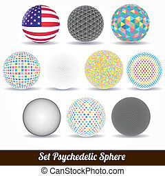 Set sphere vector color psychedelic