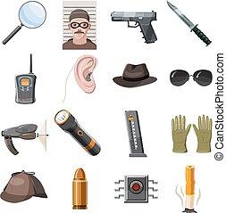set, spia, stile, cartone animato, icone