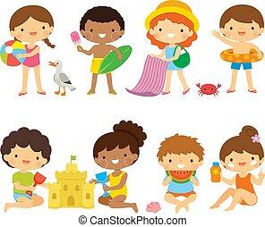 set, spiaggia, clipart, bambini