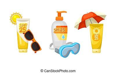 set, spiaggia, estate, roba, protezione, fondo, sole, bianco, vettore, cosmetica, illustrazione, isolato, vacanza