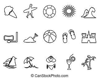 set, spiaggia, lineare, icona