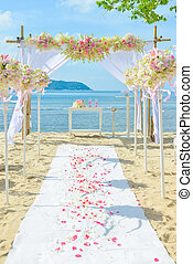 set, spiaggia, su, bautiful, matrimonio