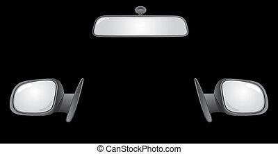 set, spiegels, auto, -, back, illustratie, achterkant