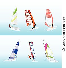 set., sport, windsurfing