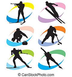 set, sportende, winter, iconen