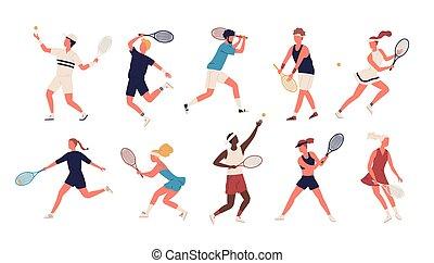 set, sportivi, vestito, isolato, racchette, sport, colpire, fondo., presa a terra, bianco, appartamento, palla, uomini, collezione, cartone animato, donne, illustration., sportswomen, tennis., vettore, abbigliamento, gioco
