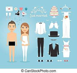 set, sposato appena, roba, carta, matrimonio, bambole