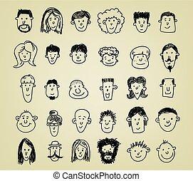 set, spotprent, karakters