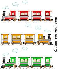 set, spotprent, kleurrijke, trein