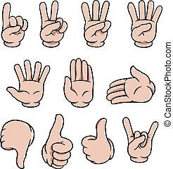set, spotprent, menselijke handen