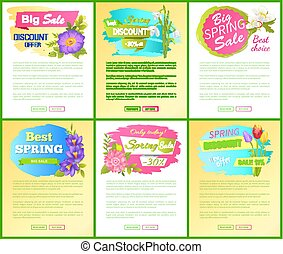 Set Spring Big Sale Off Advertisement Labels