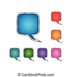 set square rounded chat vector icon
