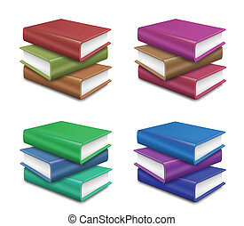 Set stack of Books on white background. Vector