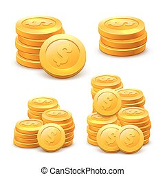 Set stacks of coins on the white background.
