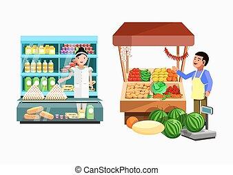 set, stall., contatore, collezione, venditori, vettore, negozi