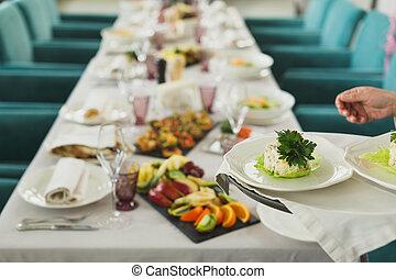 set, stanza, elegante, -, capriccio, cenando, montaggio cena, tavola