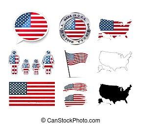 set, stati uniti, grande, mappe, elementi, infographics, bandiere, bianco, tesserati magnetici