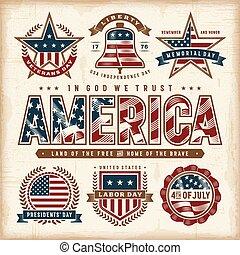 set, stati uniti, vendemmia, etichette, vacanze, patriottico