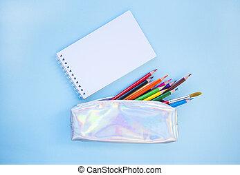 set, stationery., concept., back, school