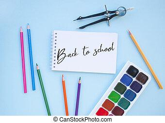 set, stationery., concept., school, back