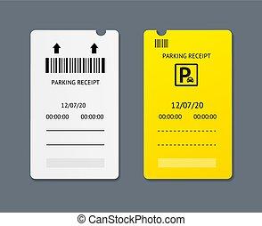 set., stationnement, détaillé, 3d, vecteur, réaliste, billets