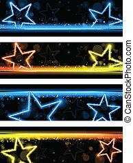 set, stelle, neon, quattro, ardendo, fondo, bandiera