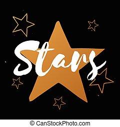 set, stelle, oro, testo, vettore, sfondo nero, bianco