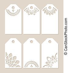 Set stencil labels with carved pattern