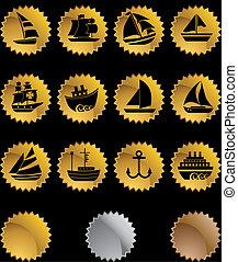 set, ster, goud, nautisch, schip, pictogram
