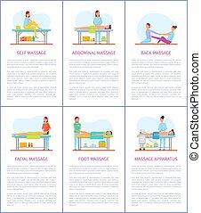 set, stesso, vettore, facciale, manifesti, massaggio, cura