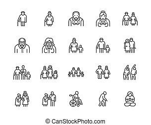 set., steun, care, patiënt, mensen, illustrations., man, 64x64., plat, senior, tekens & borden, perfect, vector, lijn, paar, vrolijke , citizens., iconen, editable, oud, thuis, ouder, verpleging, het overzicht van het pixel, ouder, het uitoefenen, slagen