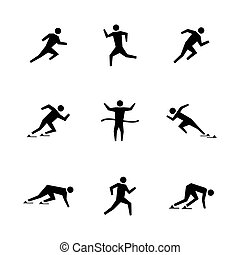 Set stick figures of runners, vector illustration.