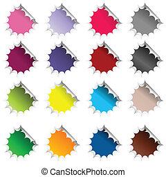 set, stickers, gekleurde