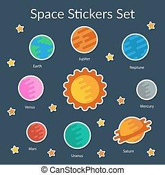 set, stickers, ruimte