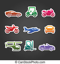 Set stickers transport color icons
