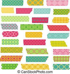 set, stickers, -, vector, ontwerp, plakboek, linten