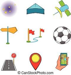 set, stijl, activiteit, spotprent, iconen
